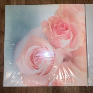 Set of 3 - Pink Rose Printed Canvas